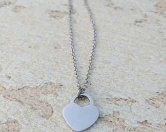 Love Heart Silver Necklace. Made to Order.