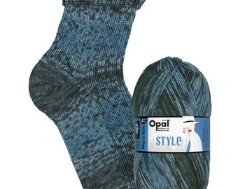 "Opal socks wool ""style"" color 9547 blue black, 4fädig"