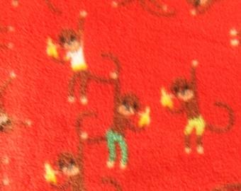 Orange Sock Monkey Print Fleece Throw