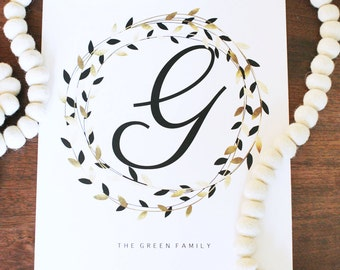 Family Name Art Print, Family Name Sign, Last Name, Monogram, Initial, Black, Gold Foil Effect, PERSONALIZED, Printable Wall Art