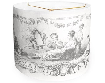 SMALL Linen French Illustrée Mode Lamp Shade - Charcoal Gray Lampshade - 7 8 9 Inch Drum Lamp Shade - Custom Made to Order Lamp Shade