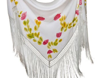 """Shawl hand painted with floral motifs in shades of red """"Seville and light"""""""