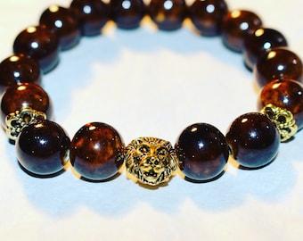 Men's Lion Head Beaded Bracelet