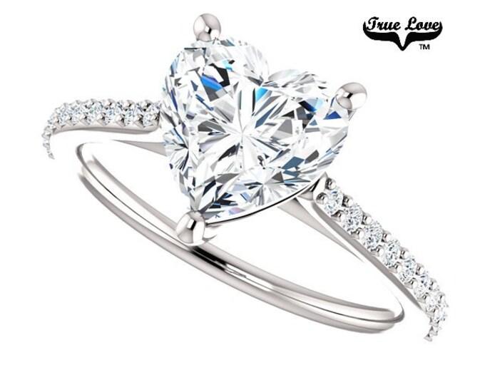 Featured listing image: Moissanite Engagement Ring 14kt White Gold, Forever Brilliant, Wedding Ring, Heart Ring  #6816
