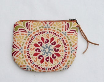 Burgundy Medallion Padded Round Zipper Pouch / Coin Purse / Gadget / Cosmetic Bag - READY TO SHIP
