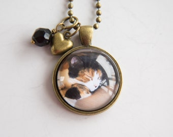 Pet Photo Necklace - Cat Dog Pendant - Cat Necklace - Dog Necklace Animal Lovers Jewelry - Pet Jewelry - Custom Photo Personalized Memory