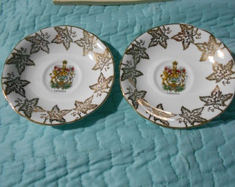 two  canada coat of arms orphan tea cup saucers  SOCIETY  fine bone china