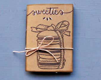 """Handmade mini notebook with recycled paper, handprinted mini journal, writers journal, gift for her, """"Sweeties"""""""
