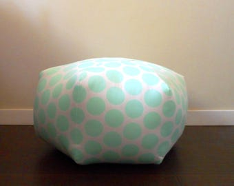 Mint Polka Dot Pouf, Large Floor Stool, Floor Cushion, Moroccan, Dorm Decor, Furniture, Pouffe, Foot Stool, Nursery, Floor Pouf