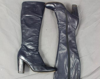 Navy Blue Boots, Blue Leather Boots, Jacques Levin Boots, 1970s Boots, Knee High Boots