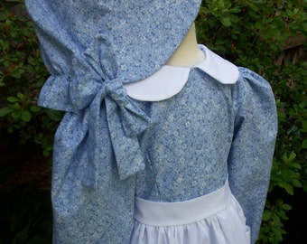 Girls Prairie Dress/Pioneer costume..with   Apron and Bonnet .../Please read full details inside ad