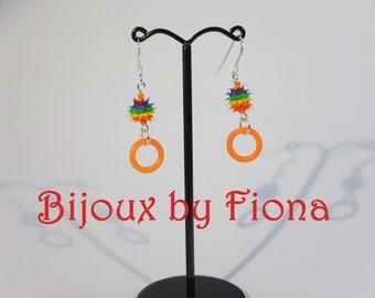 Rainbow spiky earrings with orange hoop dangle. Sterling silver, punk, alternative, handmade, lightweight,