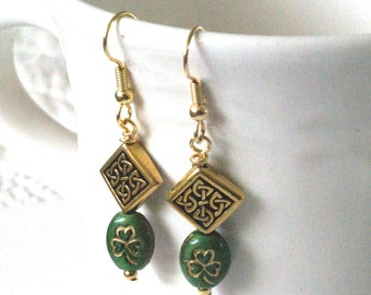 Celtic Knot Earrings, Shamrock Earrings, Green Celtic Earrings, Clover Earrings, Irish Jewelry, Green Earrings,Green Jewelry, Gift for Irish