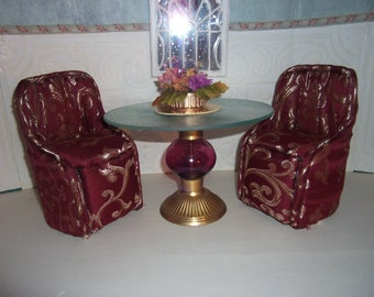 BARBIE Dinning Room Set Table and Two Upholstered Chairs Burgundy & Gold Patterned  Scaled for Barbie Blythe Monster High Floral Arrangement