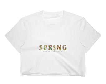 Frühling Winter ist über tropische Blumen Print Frauen Crop Top
