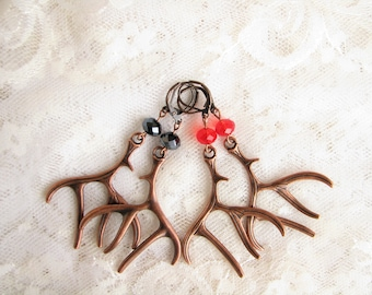 Antler Earrings Dangle earrings Crystal earrings Long earrings Gift for her Copper earrings Xmas earrings Party earrings