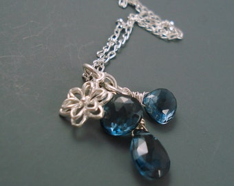 """London Blue Necklace with Sterling Silver, Three Topaz Brios and Flower Charm on 18"""" Chain, Blue Topaz Pendant"""
