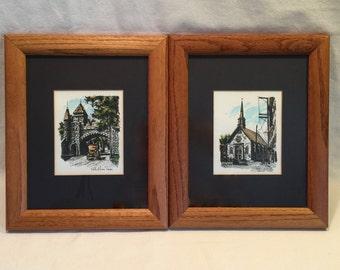 Set of Two Vintage Framed Prints of Port St. Louis Quebec