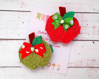 Apple hair clips, set of 2 Apple hair clips, Red apple, Green apple hair clips Free Uk Shipping