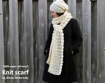 LONG WOOL SCARF, Knit scarf, soft textured winter scarf, 100% soft wool, blanket scarf, winter shawl, chunky winter scarf, soft & cozy scarf