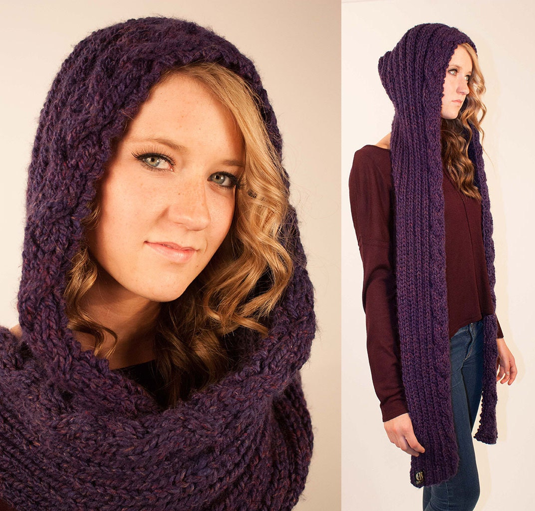 KNITTING PATTERN - Celtic Braid Hooded Scarf, Woodland Elvish Themed ...