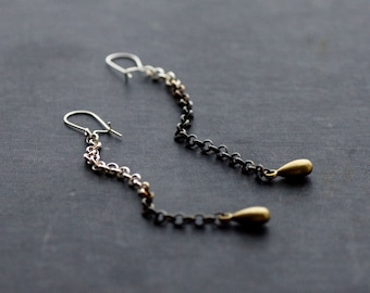Long Ombre Chain Earrings - Sterling Silver and Brass Teardrop Charm