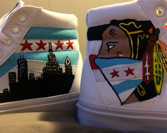 Chicago Blackhawks Painted Vans