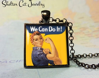 """Rosie The Riveter Vintage Pendant - 1"""" Square Necklace or Key Ring - Handcrafted Wearable Shelter Cats Photo Art Jewelry - Gift for Her"""