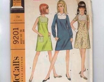 1960s Vintage Dress Pattern McCalls 9201 Misses A Line Mod Dress with Decorative Yoke Inset Size 12 Bust 34 1968 60s UNCUT