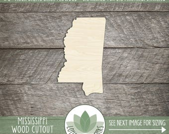 Mississippi, Unfinished Wood Mississippi Laser Cut Shape, DIY Craft Supply, Many Size Options
