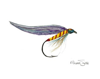 Fly Fishing Lure Painting available as a Watercolor Print, Original or in Cards