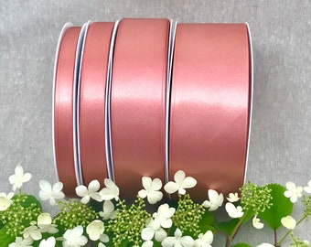 Rose Gold Satin Ribbon - Berisfords Double Sided Solid Rose Gold Ribbon - 3-70mm Widths - 1m 3m 5m 10m Lengths - Wedding - Prom Sash