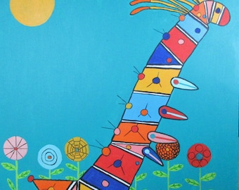 """Big Catepillar is a 30"""" X 30"""" Acrylic Painting by Rory Doyle, a disabled artist with autism"""