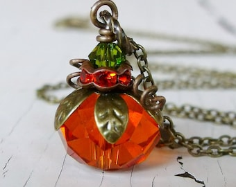 Orange Pumpkin Necklace, Halloween Jewelry, Festive Fall Jewelry, Matching Jewelry set, Autumn Jewelry, Cute Halloween Gift, Gifts For Her