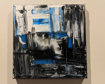 Abstract Painting - Black and Blue - Abstract Art in Oil Abstract Contemporary Wall Art, Original Painting, Modern Art, Textured Painting