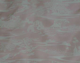 Vintage Japanese Silk Kimono Fabric Rural Scene