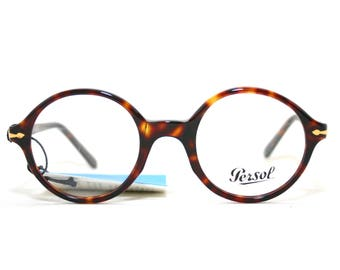 Persol 304 Eyeglasses 80's New Old Stock 1980's Round Frame Italy Size 49-71 (=22)-147 Large Tortoise Shell Dark Brown