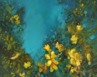 Garden Warbler in large blossom by Heidi Langridge
