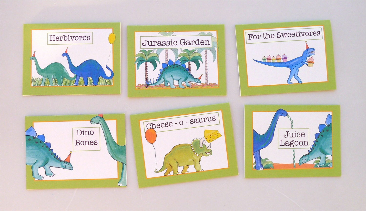PRINTABLE set of 6 food tents for dinosaur themed party food