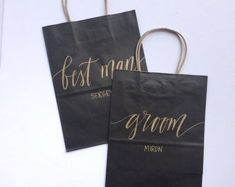 Custom gift bags + BLACK gift bags + Wedding gift bags + Bridal shower gift bag + Bachelorette Party bags + Welcome Bags / Handwritten