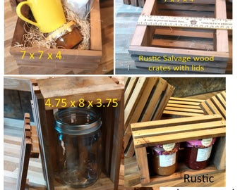 Wood packing crates rustic cedar redwood mini shipping crates gift packaging salvage wood slat style lidded wood boxes unfinished rough sawn