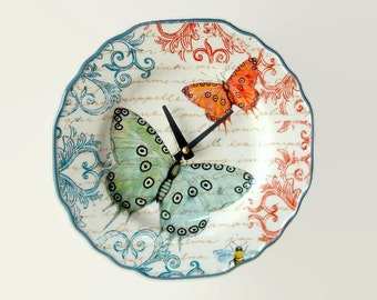 """9"""" Colorful Butterfly SILENT Wall Clock, French Clock, Butterfly Clock, Ceramic Plate Clock, Butterfly Wall Decor, Kitchen Clock  2011"""
