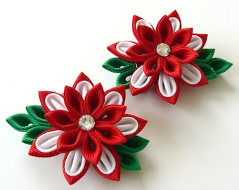 Kanzashi  Fabric Flowers. Set of 2 hair clips. Red and white kanzashi. Japanese hair clip.