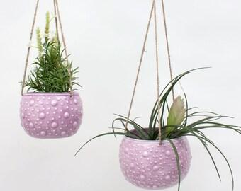 Enamel Hanging Planter || Blumenampel || Plant Pot Holder || Lilac