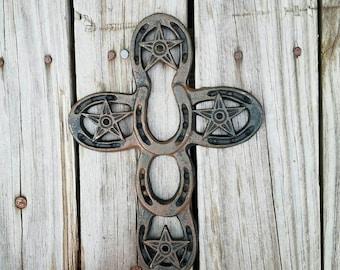 Wall cross, iron wall cross, ornate cross, horseshoe cross, country wall cross, rustic cross, ornate cross, unique cross, horseshoe decor
