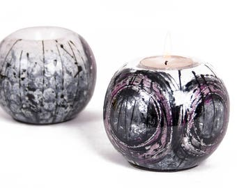 Candle holder silver & purple