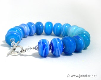 SEA SCENES! beautiful lampworked glass bracelet - Jenefer Ham