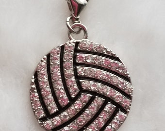 Rhinestone Volleyball Charms - Clip-On - Ready to Wear - Package of 2