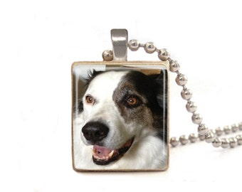 Personalized Pet Photo Necklace | Dog Photo Charm | Custom Pet Necklace | Animal Necklace | Custom Photo Jewelry | Wood Game Tile Necklace