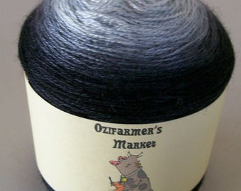 Silky Merino Lace - 100gm Gradient dyed black to silver laceweight yarn - Silvery Nights